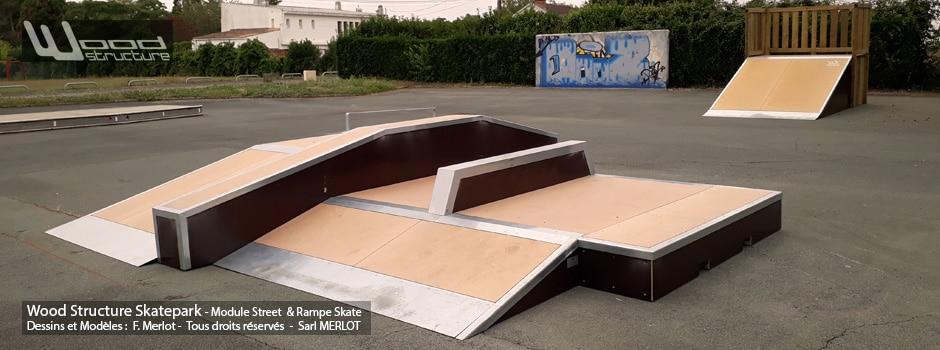Skatepark de Luçon (85) - Vendée - Pays-de-la-Loire - Module Skate Street - Table Funbox - Curb - Rail - Quarter Courbe et Plan incliné - Rampe Skate - Fabriqué par Wood Structure et la Sarl MERLOT Richelieu (37) - Concepteur et fabricant de Skatepark depuis 1990