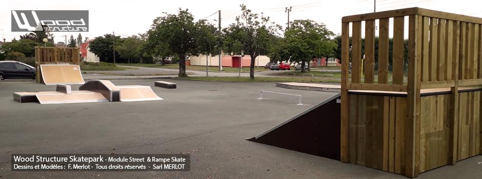 Skatepark de Luçon (85) - Vendée - Pays-de-la-Loire - Module et Rampe Skate - Fabriqué par Wood Structure et la Sarl MERLOT Richelieu (37) - Concepteur et fabricant de Skatepark depuis 1990