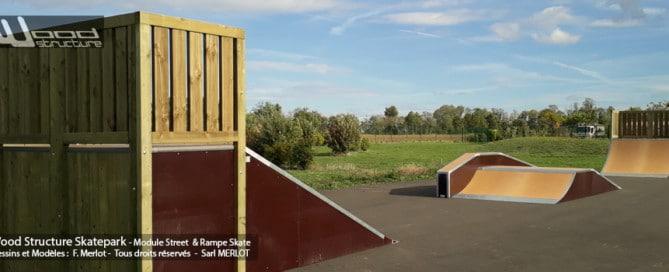 Skatepark de Charpey (26) - Drôme - Auvergne-Rhône-Alpes - Module et Rampe Skate - Fabriqué par Wood Structure et la Sarl MERLOT Richelieu (37) - Concepteur et fabricant de Skatepark depuis 1990