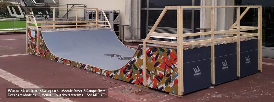 Mini Rampe Skate pour le festival Paris Paradis organisé par le quotidien Le Parisien - Septembre 2019 - Wood Structure Skatepark - Sarl Merlot