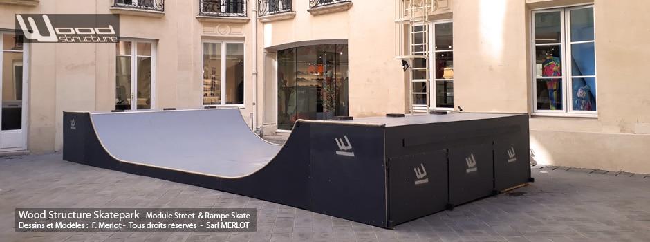Evénement de la marque Element Brand chez Nous Concept Store - Mini Rampe Skate installée par Wood Structure et la Sarl MERLOT Richelieu (37) - Concepteur et fabricant de Skatepark depuis 1990