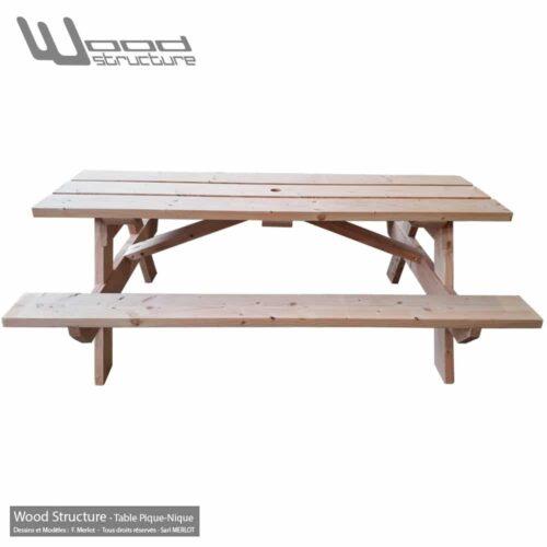 Table pique-nique Bois TL3D220 - Table Picnic en Sapin Douglas - Fabriquée en France par la Sarl Merlot & Wood Structure - Fauteuil - Banc - Salon de Jardin