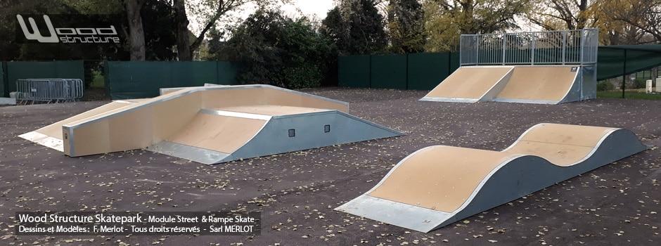 Skatepark de Rueil-Malmaison (92) - Hauts-de-Seine - Île-de-France. - Module Skate Street - Table Funbox - Curb - Rail - Quarter Courbe et Plan incliné - Pumptrack- Fabriqué par Wood Structure et la Sarl MERLOT Richelieu (37) - Concepteur et fabricant de Skatepark depuis 1990