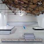 Skatepark Indoor de l'association Board-O (33) | Modules Street Rails et Rampe fabriqués par Wood Structure et Sarl MERLOT Richelieu (37) - Concepteur et fabricant de Skatepark depuis 1990