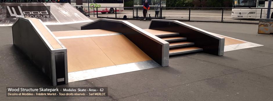 Skatepark de Arras (62) Pas-de-Calais - Hauts-de-France - Module et Rampe Skate - Fabriqué par Wood Structure et la Sarl MERLOT Richelieu (37) - Concepteur et fabricant de Skatepark depuis 1990