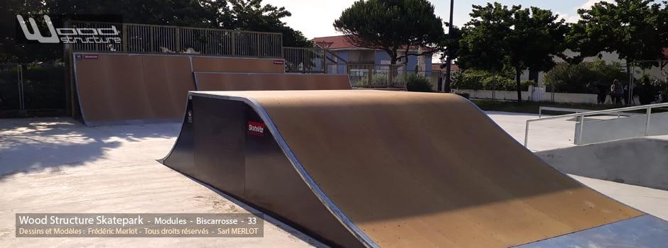 Skatepark de Biscarrosse (40) - Landes - Sud-Ouest - Nouvelle Aquitaine - Module et Rampe Skate - Fabriqué par Wood Structure et la Sarl MERLOT Richelieu (37) - Concepteur et fabricant de Skatepark depuis 1990