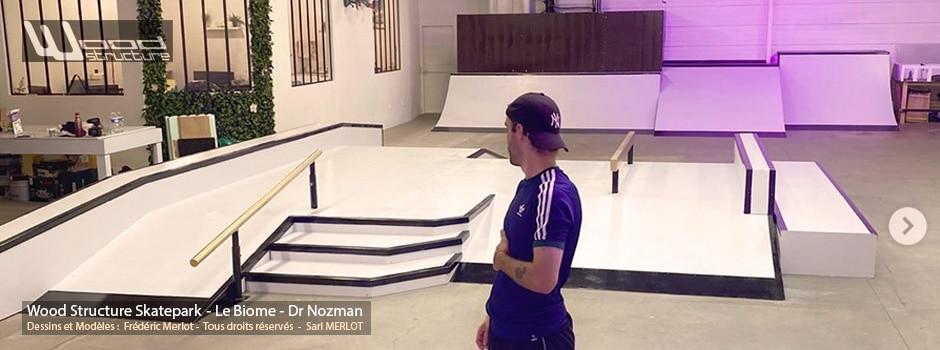 Skatepark Indoor du Dr Nozman - Biome Warehouse V02 - Modules Street - Rails - Curb et Quarter Rampe Skate - Fabriqué par Wood Structure et la Sarl MERLOT Richelieu (37) - Concepteur et fabricant de Skatepark depuis 1990