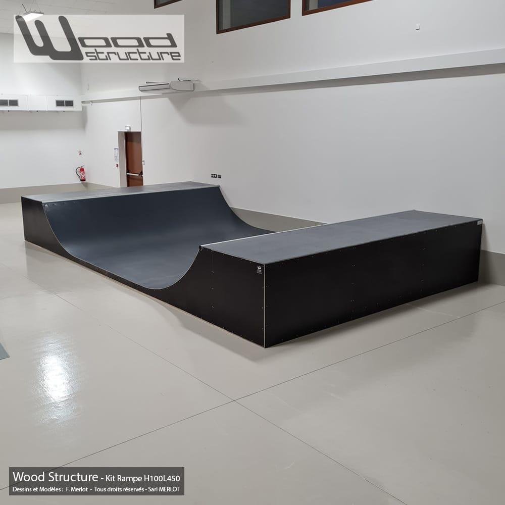 Kit Pro Ramp Skate H100L450 Livré prêt montée - Wood Structure Skatepark