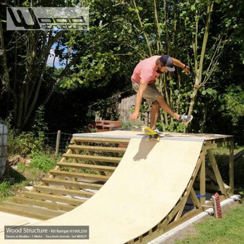 Kit Rampe Skate H100L250 - Design Wood Structure - Mini rampe fabriquée en France par la Sarl Merlot - Rampe livrée en kit - Module skate et rampe skate, roller, bmx, trottinette