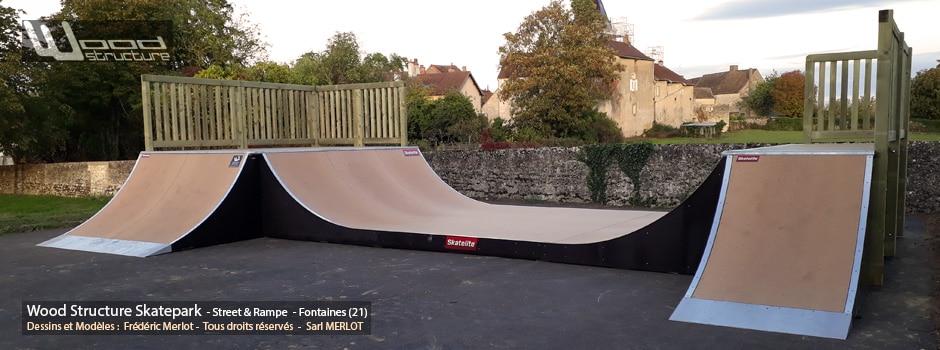 Skatepark de Fontaines (71) Saône-et-Loire - Région Bourgogne-Franche-Comté - Module et Rampe Skate - Fabriqué par Wood Structure et la Sarl MERLOT Richelieu (37) - Concepteur et fabricant de Skatepark depuis 1990