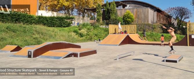 Skatepark de Geaune (40) - Sud-Ouest - Les Landes - Région Nouvelle-Aquitaine - Module et Rampe Skate - Fabriqué par Wood Structure et la Sarl MERLOT Richelieu (37) - Concepteur et fabricant de Skatepark depuis 1990