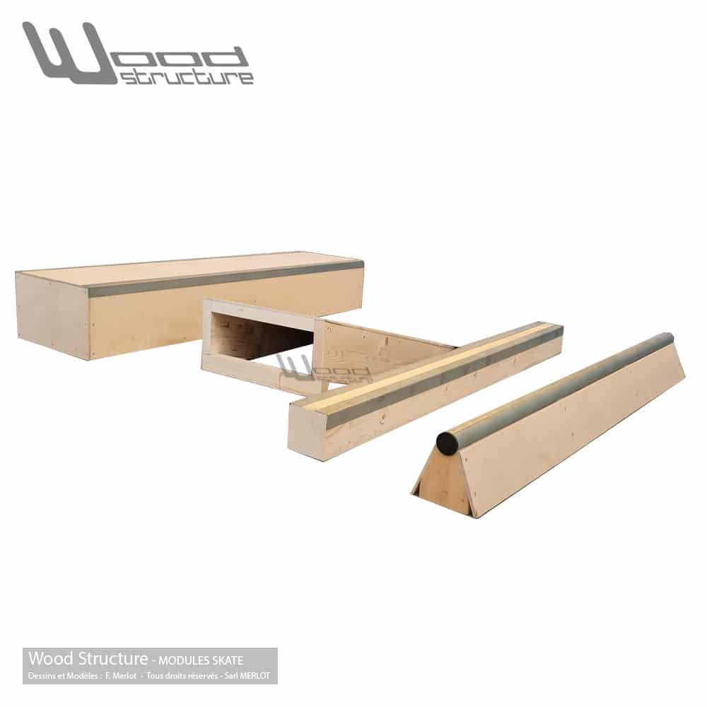 Modules Curb Bank Slappy Curb & Rail Slide Grind pour Skateboard Roller Bmx Trottinette - Wood Structure Skatepark