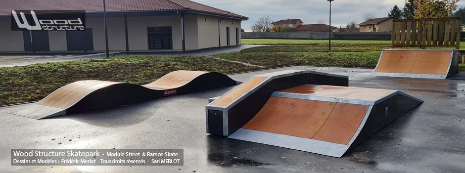 Skatepark de Mionnay (01) Ain - Région Auvergne-Rhône-Alpes - Module et Rampe Skate - Fabriqué par Wood Structure et la Sarl MERLOT Richelieu (37) - Concepteur et fabricant de Skatepark depuis 1990