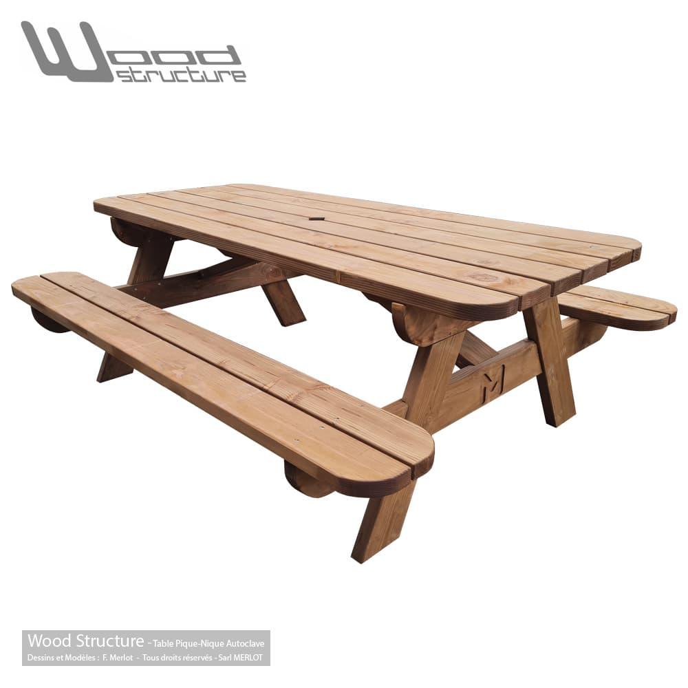 Table de pique-nique L traitée autoclave Classe 3 - Fabriquée en France par la Sarl Merlot & Wood Structure - Table picnic en Sapin du nord - Livrée en kit avec fourniture et plan de montage
