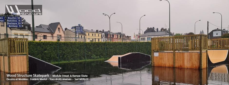 Skatepark de Arlon - Wallonie (BE) - Province belge de Luxembourg - Module et Rampe Skate - Fabriqué par Wood Structure et la Sarl MERLOT Richelieu (37) - Concepteur et fabricant de Skatepark depuis 1990