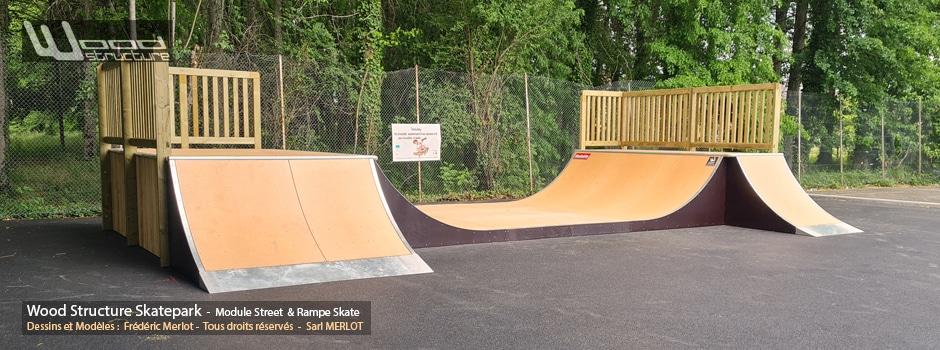 Skatepark de Montignac-Lascaux - Dordogne (24) - Région Nouvelle-Aquitaine - Module et Rampe Skate - Fabriqué par Wood Structure et la Sarl MERLOT Richelieu (37) - Concepteur et fabricant de Skatepark depuis 1990