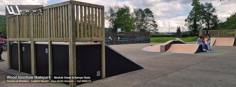 Skatepark du lac de Caniel (76) - Côte d'Albâtre - Seine-Maritime-Normandie - Modules de Skatepark - Fabriqué par Wood Structure et la Sarl MERLOT Richelieu (37) - Concepteur et fabricant de Skatepark depuis 1990
