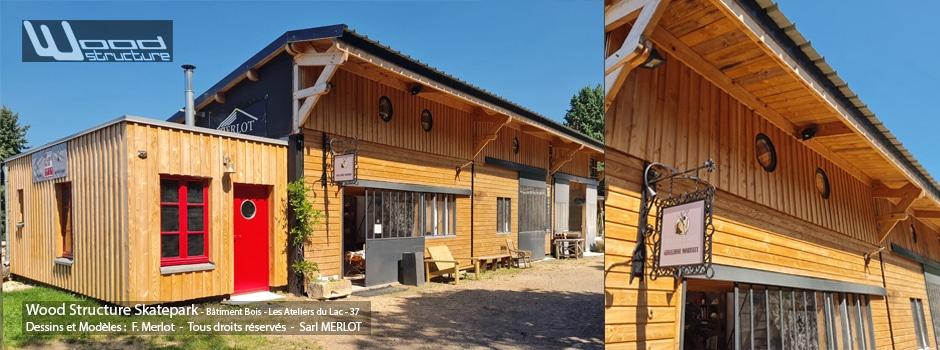 Bâtiment Bois conçus par Wood Structure et réalisé par la Sarl MERLOT - LES ATELIERS DU LAC - Taille de Pierre & Atelier d'Arts - 37120 Champigny-sur-Veude